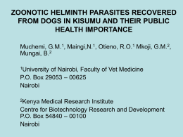 Zoonotic helminth parasites recovered from dogs in Kisumu and