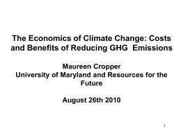 Costs and Benefits of Reducing Greenhouse Gas