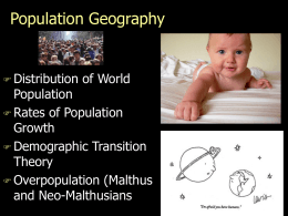 Lecture - Population Geography