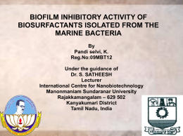 BIOFILM INHIBITORY ACTIVITY OF BIOSURFACTANTS ISOLATED