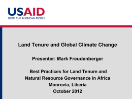 Module 4: Climate Change and Tenure (Freudenberger)