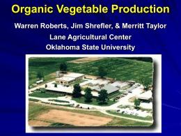 Organic Vegetable Production - Sustainable Agriculture In Oklahoma