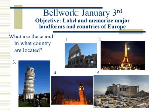 Countries and major landforms of Europe