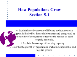How Populations Grow Section 5-1