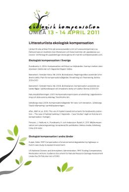 Litteraturlista ekologisk kompensation