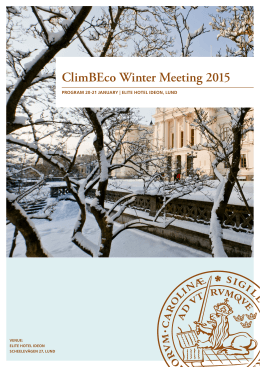 ClimBEco Winter Meeting 2015