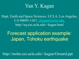 Forecast application example: Japan, Tohoku earthquake