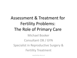 Assessment & Treatment for Fertility Problems: The Role