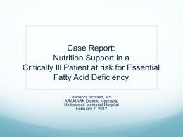 Case Report - Rebecca L. Scofield MS, RD, LDN