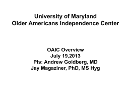 Maryland OAIC Overview - Claude D Pepper Older Americans