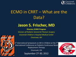 ECMO CRRT - Pediatric Continuous Renal Replacement Therapy