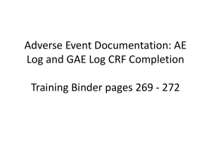 19: AE and GAE CRF Completion