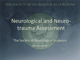 Neuro-trauma Assessment - Society of Neurological Surgeons
