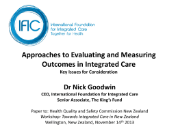 Approaches to measuring outcomes in integrated care