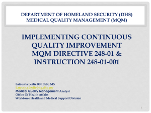 Department of Homeland Security (DHS) Medical Quality Management