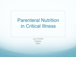 Parenteral Nutrition in Critical Illness