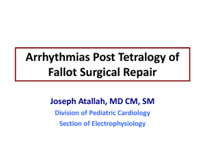 Arryhythmias post-TOF repair surgical repair