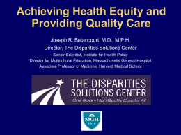 Achieving Health Equity and Providing Quality Care