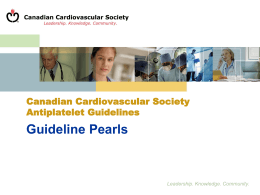 Guideline Pearls - Thrombosis Canada