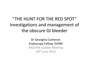 THE HUNT FOR THE RED SPOT Investigations and management of