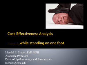 EPBI 467 Cost-Effectiveness Analysis in Health Care