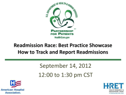 Readmission Race Best Practice Showcase