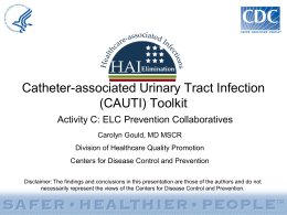 CAUTI Toolkit - Centers for Disease Control and Prevention