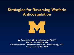 Strategies for Reversing Anticoagulation