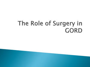 The Role of Surgery in GORD