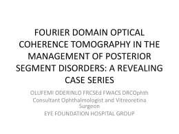 FOURIER DOMAIN OPTICAL COHERENCE TOMOGRAPHY IN THE