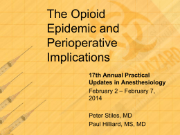 The Opioid Epidemic and its Perioperative Implications