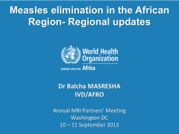 AFRO: Focus on Response to Measles Resurgence