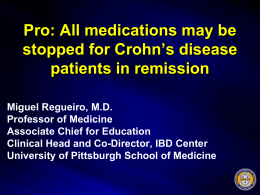 medications may be stopped for Crohn`s disease patients in remission