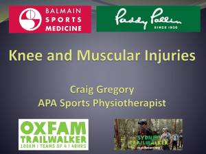 Knee and Muscular Injuries Craig Gregory APA