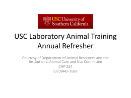 USC Laboratory Animal Training Annual Refresher