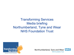 April 2014 - Northumberland, Tyne and Wear NHS Trust