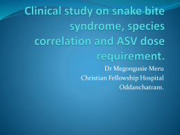 Clinical study on snake bite syndrome, species correlation and ASV