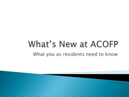 What*s New at ACOFP