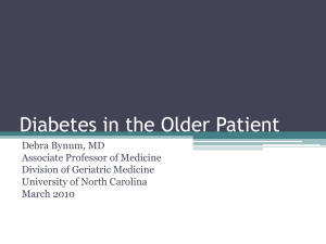 Diabetes in the Older Patient