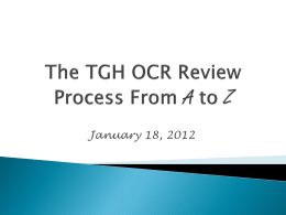 The TGH OCR Review Process From A to Z