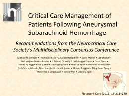 Critical Care Management of Patients Following Aneurysmal