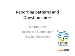 Reporting patterns / Questionnaires