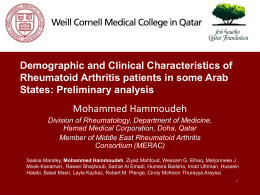 Demographic and Clinical Characteristics of Rheumatoid