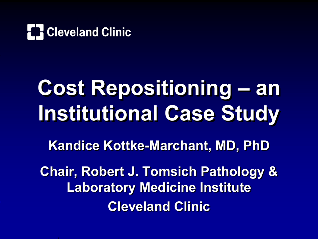 Cost repositioning - an institutional case study