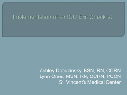 Implementation of an ICU Exit Checklist in the Intensive Care Unit