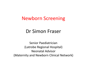 Newborn Screening - Department of Education and Early Childhood