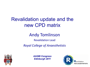 Revalidation and anaesthesia