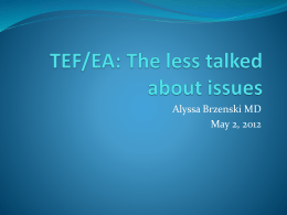 TEF/EA: The less talked about issues