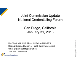 Joint Commission Update National Credentialing Forum