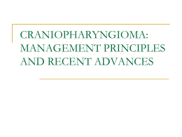 craniopharyngioma management principles and